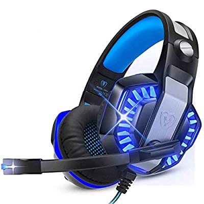 ENVEL Gaming Headset for PS5 PS4 with Mic,PC,Xbox One,Laptop,Surround Sound Over Ear Noise Cancelling Headphone with LED Lights Volume Control for Smartphone,Computer,Nintendo Switch(Black&Blue) from ENVEL