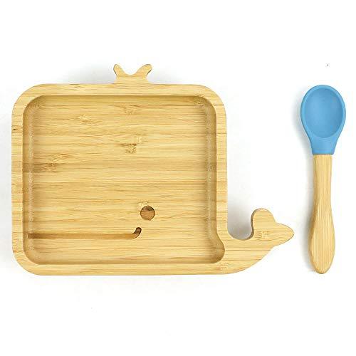 Cozy Vibe Süßer Wal Baby Saugnapf-Schüssel mit passendem Löffelset, Standfeste Saug-Fütter-Schüssel, aus naturbelassenem Bambus,Umweltschutz (Blau)
