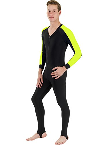 Phantom Aquatics - Muta seconda Pelle Intera, Unisex, in Lycra, Unisex, Lycra Full Suit Dive Skin Wetsuit, Black/Yellow, S