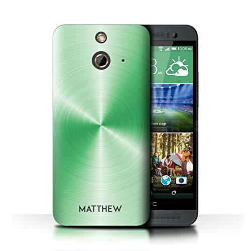 eSwish Personalisiert Individuell Gedruckter Effekt Metall Hülle für HTC One/1 E8 / Smaragdgrün Design/Initiale/Name/Text Schutzhülle/Case/Etui