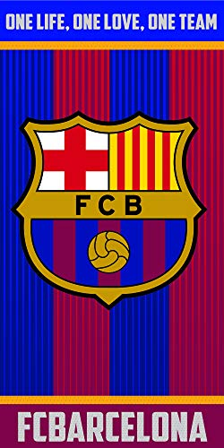 Fc Barcelona Toalla 100% Algodón, Azulgrana 70 x 140 cm