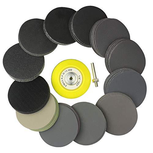 MAXMAN Schleifscheiben Klett-Schleifpapier Set Ø 76mm 110 Stück, mit 1 Schaftunterlage &weichem Schaumstoff, je 10 Stk. P80,180,240,320,400,600,800,1000,1500,2000,3000 für Exzenterschleifer