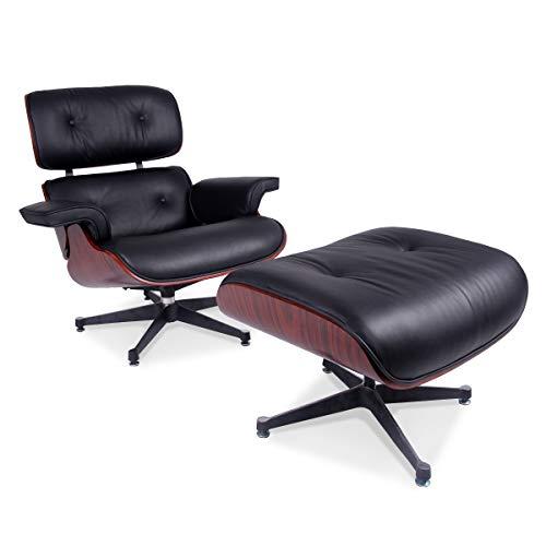 Meubles Shop UK Reproduction Eames Lounge Fauteuil et repose-pieds en cuir, taille : h 84 cm, W 80 cm, D Tabouret 52 x 52 cm, h 48 cm, W 64 cm, P 54 cm