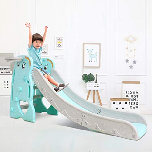 Awssya Children Slide, Multi-Function Kids Slide with Basketball Frame/Climbing Stairs, Home Small Slide Combination Toy, for 3-8 Years Old Unisex Child, Suitable for Indoor and Outdoor Use
