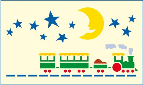 Mako Bordüren-Schablone mit Zug Sternenhimmel # Größe: ca. 21 x 36 cm