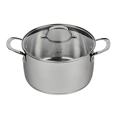 Swiss Diamond Stainless Steel 5.3 Quart Dutch Oven with Lid – Professional Cooking, Soup, & Stock Pot Evenly Distributes Heat – Oven- & Dishwasher-Safe, Mirror Finish