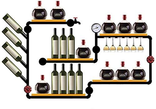 HTTJJ estante del vino for montaje mural - for las botellas de vino y vasos de almacenamiento de madera - elegante for cocinas, restaurantes, bares, soporte for botellas de cava for montaje en la pare