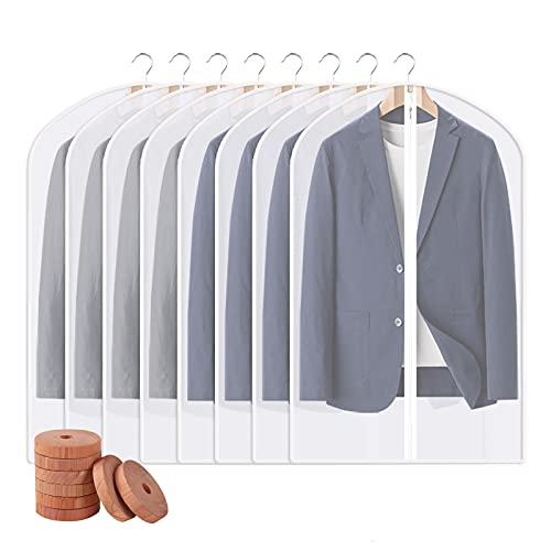 옷걸이용 PEVA 의류 가방 8팩 투명 플라스틱 의류 가방 옷장 보관용 정장 가방 여행용 의류 커버 - 24`` X 40`` | 8 팩