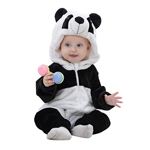 IDGIRL Baby Panda Costume, Animal Cosplay Pajamas for Boy Winter Flannel Romper Outfit 12-18 Months, Black One Piece