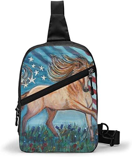 Schultertasche mit amerikanischer Flagge, Adlerpferd, Schultertasche, Brusttasche, Outdoor, Wandern, Reisen, persönliche Tasche für Damen und Herren, wasserabweisend