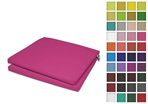 Rollmayer 2er Set Stuhlkissen Stuhlauflage Sitzkissen Sitzpolster Auflage für Stühle in Haus und Garten Kollektion Vivid (Dunkel Pink 11,...