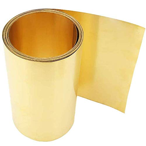Asitlf Brass Sheet Foil Tape H62 Cu metalen plaat dunne koperen Roll Panel DIY Brass Crafts metaalbewerking 200mmx2000mm,Thickness 0.05mm