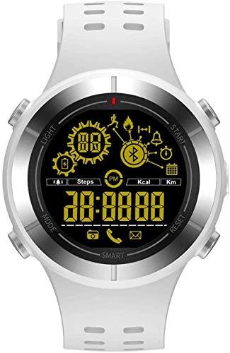 Reloj inteligente para deportes al aire libre, impermeable, no necesita cargar larga información del teléfono en espera, reloj recordatorio compatible con Android e iOS, gris y blanco