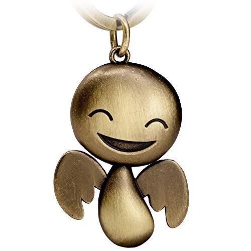 FABACH Schutzengel Schlüsselanhänger Happy - Niedlicher Engel Anhänger aus Metall in antiker Bronze - Geschenk Glücksbringer Auto Führerschein - Fahr vorsichtig