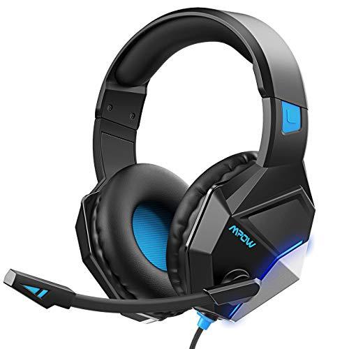 Mpow EG10 Auriculares Gaming para PS4, PC, Xbox One Controller, Cascos con Micrófono Cancelación de Ruido Sonidos Envolventes, USB Cable Auriculares para Nintendo Switch Mac 3.5mm Jack