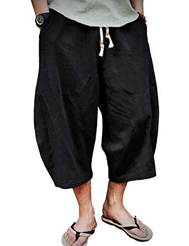 EKLENTSON Herren Capri-Shorts, lang, kniefrei, lockere Passform, elastischer Kordelzug, tailliert, Leinen-Shorts für Herren - Schwarz - 52