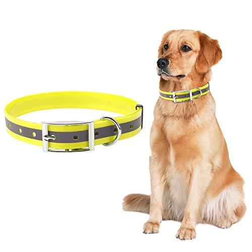 puseky Collar de perro tamaño L impermeable reflectante collar anti-sucio collar de perro tamaño mediano a grande collar de perro