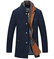 Men's Wool Blend Coat Single Breasted Trench Coat Winter Warm Pea Coats Woolen Jackets with Detachable Scarf Navy