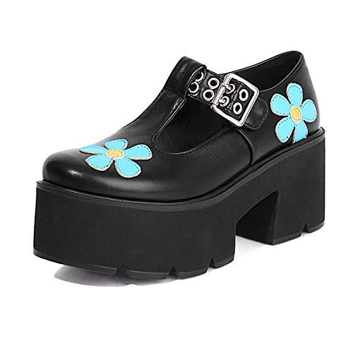 CHARMSTEP Mary Jane Zapatos Plataforma Mujer Gótico Lolita Tacon Ancho Punta Redonda Flor T-Strap Zapatos Vestido,Black PU