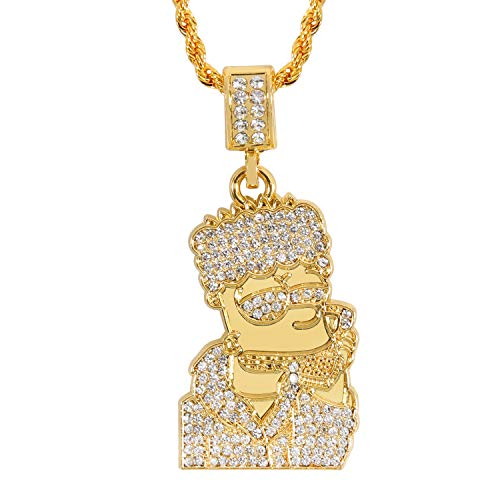 putouzip Men's 18K Gold Plated CZ Fully Iced Out Cartoon 316L Stainless Steel Pendant