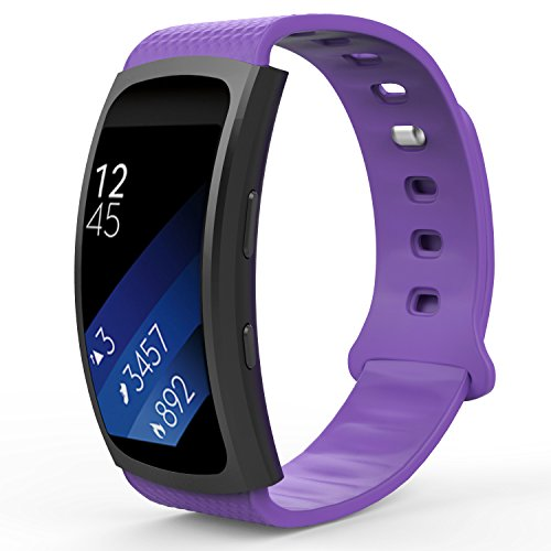 MoKo Samsung Gear Fit2 Correa, Fit 2 Pro Pulsera Deportiva Silicona Suave Reemplazo Sport Band para Samsung Gear Fit 2 SM-R360 Smart Watch, Violada (3 Piezas de Bandas Incluido para 2 Longitudes)