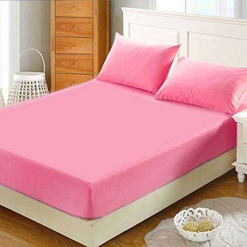 Sonia MOER Premium Polycotton Spannbetttuch, Pink, Doppelbett