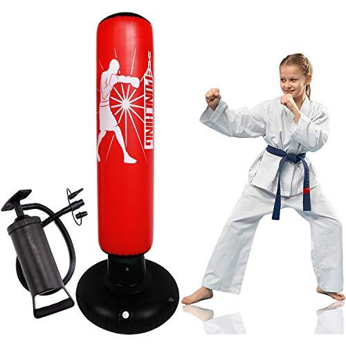 Senston Sac de Frappe Sac Gonflable de Boxe avec Pompe 160 CM Gonflable autoportant Punching-Ball Debout, Idéal Enfants et Adolescents