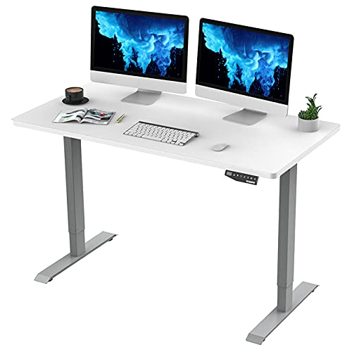 FlexiSpot EN1 Electric Height Adjustable Desk 55 x 28 Inches Whole-Piece Standing Desk Home Office Sit Stand Up Desk Primo(Gray Frame +55 inch White Top)