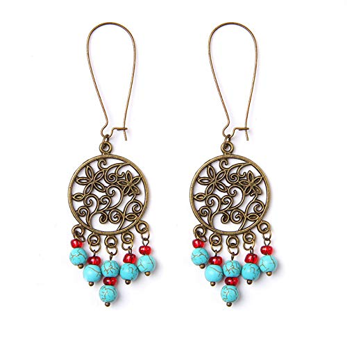 Bohemia Earrings For Women Turquoises Beads Eardrop Tassel Alloy Dangle Tribal Unique Exquisite Jewelry Vintage Ethinc Creative