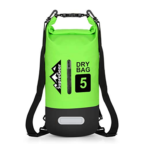 supregear Bolsa Seca Impermeable, 10 litros Bolsa de Almacenamiento Duradera Saco Ditty Bag y Correa de Hombro Ajustable para Kayak Acampada Canotaje Senderismo Actividades Al Aire Libre - Verde