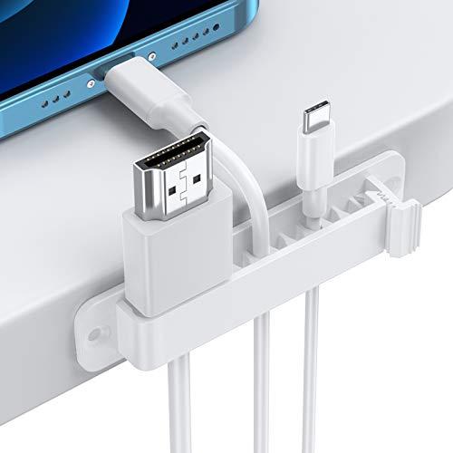 Kabelhalter Kabelclips, AGPTEK 5 Stück Kabel organizer Set mit Zwei Größen Slots, Vielzwecke Kabel Halterung Selbstklebend oder Schrauben, Kabelklemmen für Netzkabel, USB...