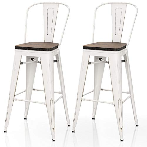 VIPEK 30 Inches Metal Bar Stool 30' Height Barstool with Solid Elm Wooden Seat High Back Commercial Grade for Indoor Kitchen Restaurant Dining Chair Outdoor Patio Bistro, Set of 2, Distressed White