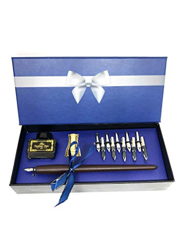 Calligraphy kit for beginners calligraphy pen, instruction card, ink bottle and 11 different nibs that will allow you to create so many different styles. Fabulous Set For Your Loved Ones.