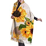 Tengyuntong Pashmina Wrap Manta bufanda, mujer Pashmina bufanda, girasoles e imágenes gran mezcla extra suave mujeres chal abrigo estola bufanda