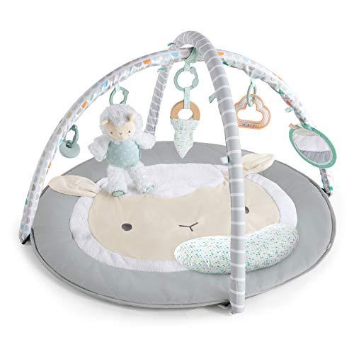 Ingenuity, Manta de juego acolchada Sheppy's Spot, gimnasio de actividades con arco de juegos desmontable, 5 juguetes extraíbles, fácil de guardar, lavable a máquina, diseño neutro y unisex