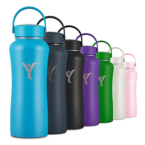 DYLN Insulated Water Bottle | 32 oz (950 mL) | Creates Premium Alkaline Water On-The-Go | Keeps Cold for 24 Hours | Stainless Steel Reusable Bottle | Handle Cap | DYLN Blue