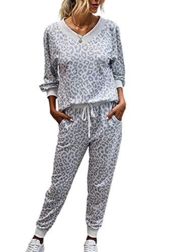 Conjunto de pijama de leopardo de manga larga para mujer con bolsillos