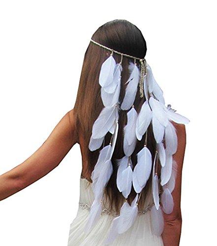FANHOM Pluma bohemia banda Fascinator banda de pelo nupcial accesorios para el...