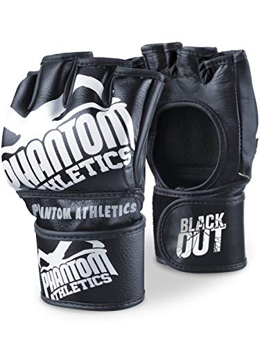 Phantom MMA Handschuhe Blackout | Hochwertige Profi Handschuhe für Kampfsport, Sparring, Sandsack, Pratzen, Boxen, Training, Freefight (L/XL)