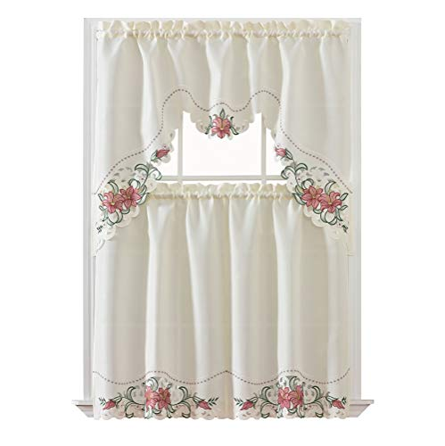 GOHD Golden Ocean Home Decor Lily Fragrance. 3pcs Multi-Color Embroidery Kitchen Cafe Curtain Set Swag and Tiers Set with cutworks. (Burgundy)