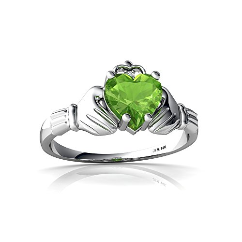 14kt White Gold Peridot and Diamond 6mm Heart Claddagh Ring - Size 7
