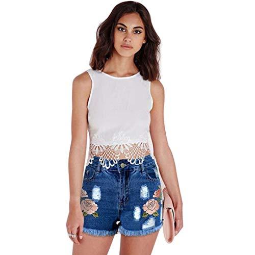 Dasongff dames applicatie jeansshorts High Mode Waist elegante jeans meisjes modieuze jeansshort dames jeans zomerbroek hotpants gedragen losse denimshorts korte broek