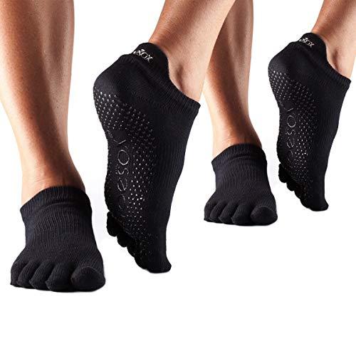 Toesox Low Rise Full Toe Multi Pack – Grip Non-Slip Toe Socks for Pilates Barre Yoga , Small, Black - 2 Pack