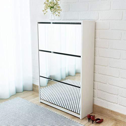 HUANGDANSP Mueble Zapatero Blanco 3 Compartimentos con Espejo 63x17x102,5 cm