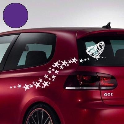 """A695 Autoaufkleber \""""Sternen Schmetterling\"""" 70cm x 38cm hellviolett (in 49 Farben und 6 Größen)"""