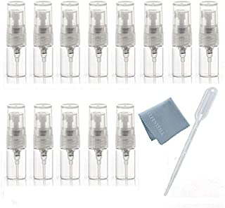 ELFENSTALL- 10pcs Mini Clear 2ml 5/8 Dram Fine Mist Atomizer Vial Glass Bottle Spray Refillable Perfume Empty Sample Bottle Clean Cloth for Travel Party Free 3ML Dropper