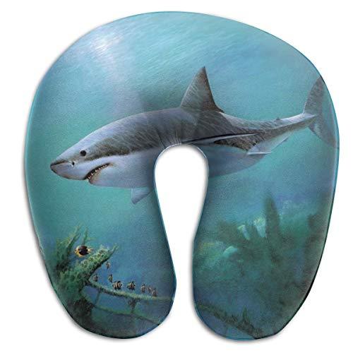 Almohada en Forma de U, Cuello Grande, tiburón, Viaje, Almohada Multifuncional, Coche, avión