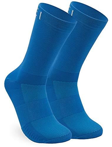 NORTEI Calzini Lunghi da Ciclismo, MTB e Corsa per Uomo e Donna, Blu - Infinity Blue (L (43-45))