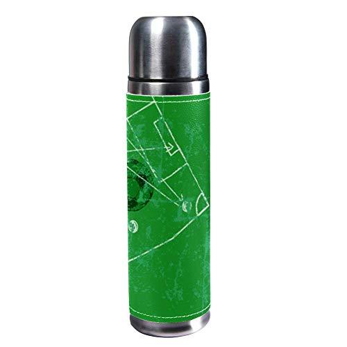 TIZORAX Fußball-Vorlage, 500 ml, Reisebecher, Kaffeetassen, Wasserflasche, Vakuum-Leder, Isolierbecher 304 Edelstahl