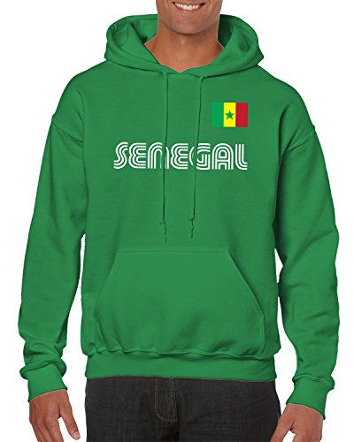 SpiritForged Apparel Senegal Soccer Jersey Hooded Sweatshirt, Kelly Large